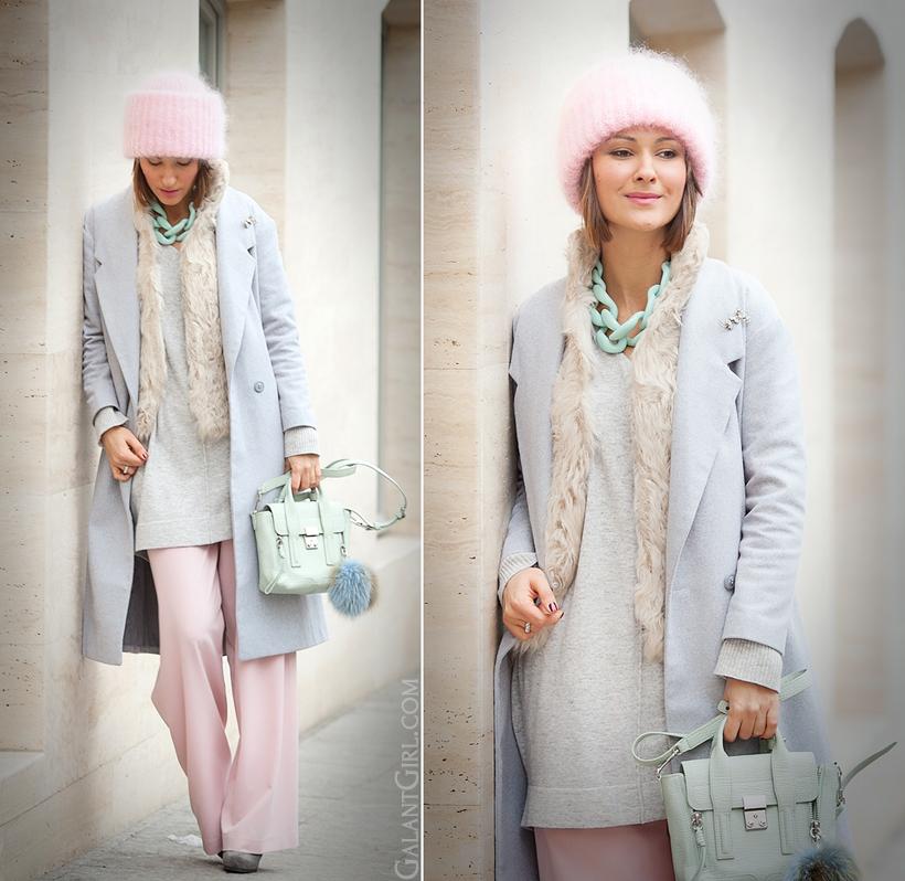 diana broussard necklace, tak.ori beanie, pastel outfit, galant girl, 3.1 phillip lim, 3.1 phillip lim pashli,
