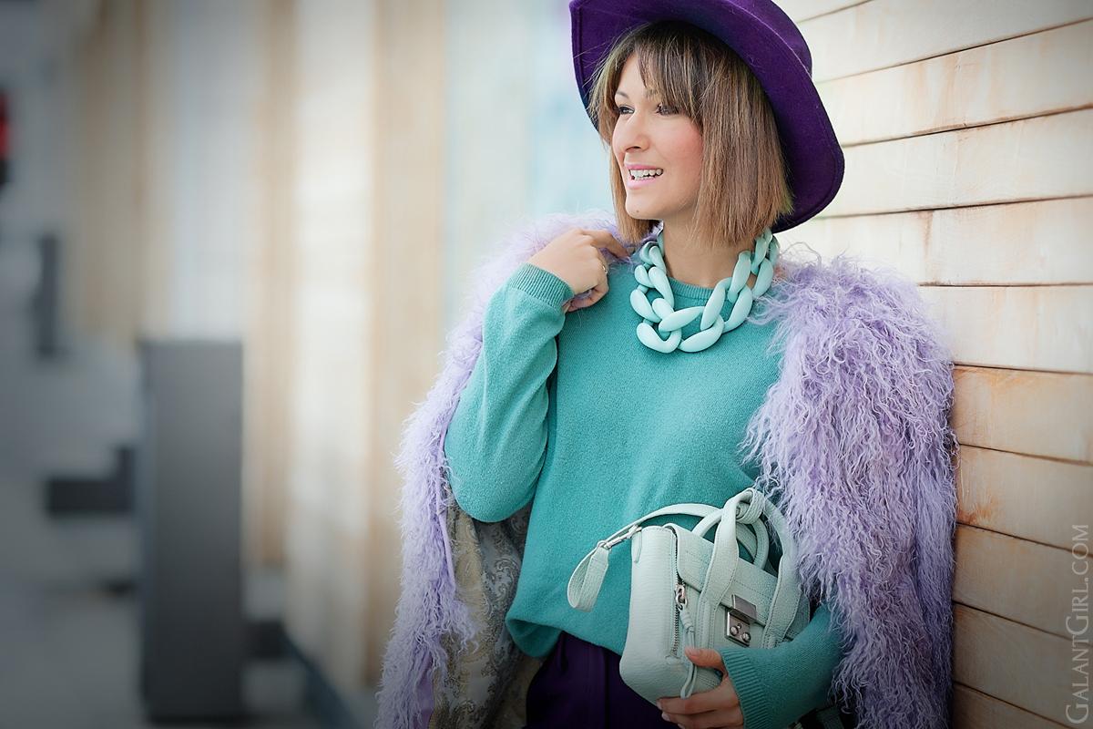 diana broussard nate mint necklace, 3.1 phillip lim mini pashli, galant girl, lamb fur coat, color mix,