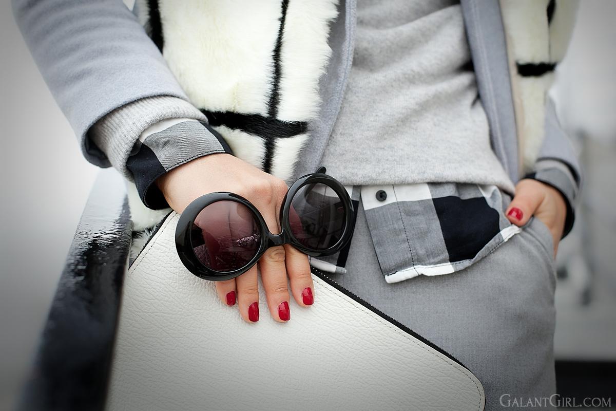 street style, geometric accents in fashion, faux fur scarf, galant girl, 3.1 phillip lim clutch, grey coat Asos,