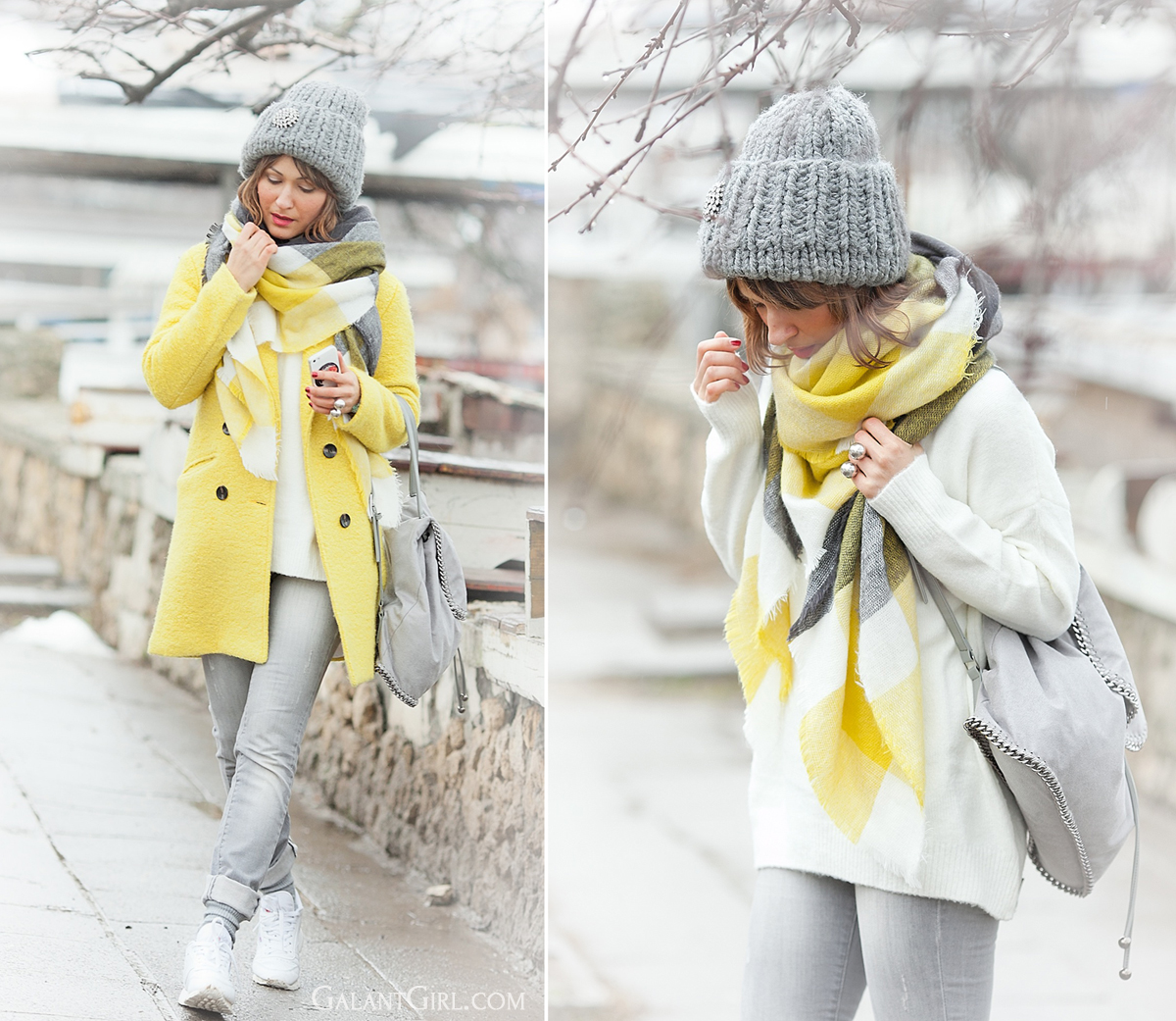 chunky beanie, Choies scarf, galant girl, white winter outfit,