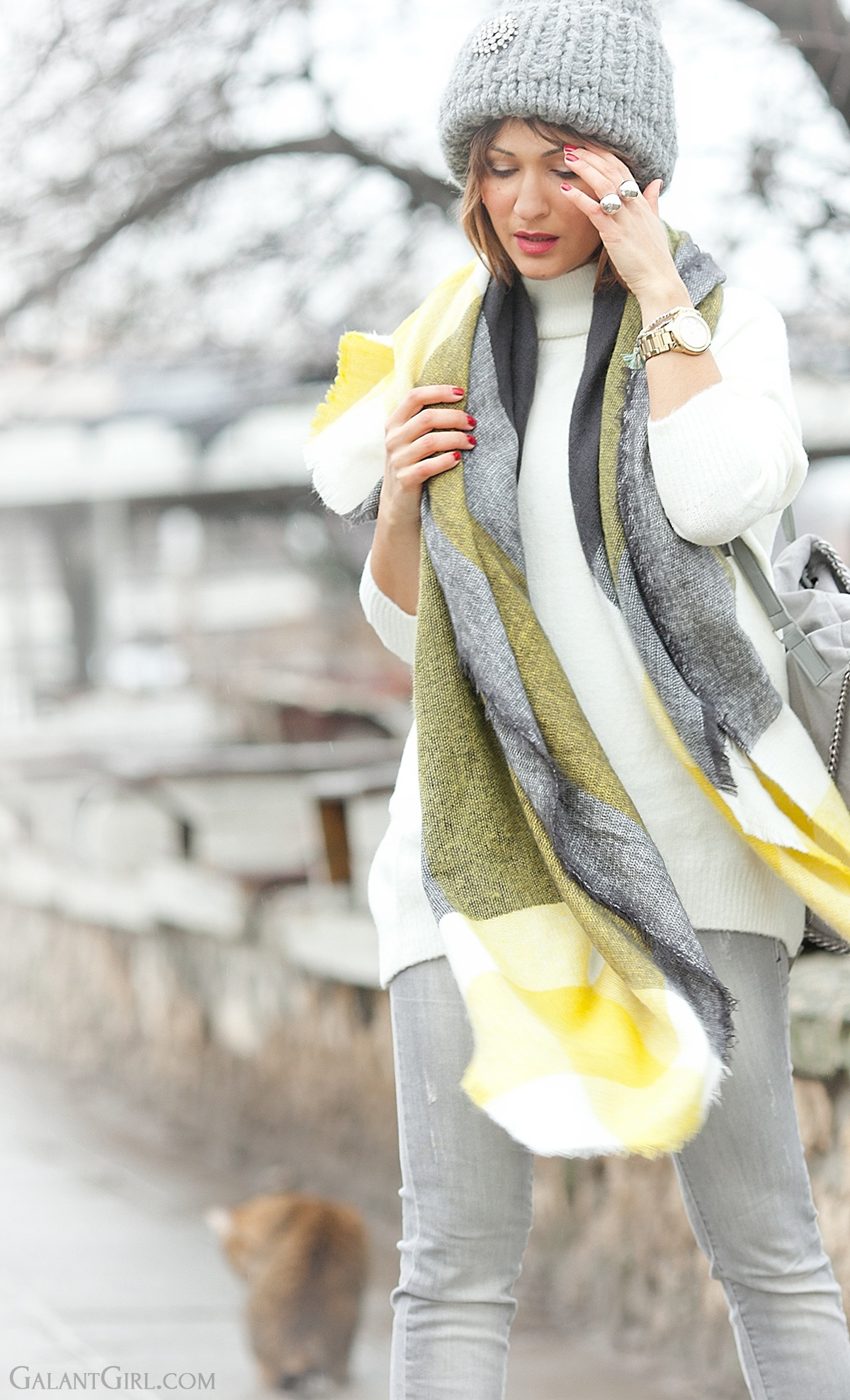 galant girl, choies checked scarf, grey jeans citizens of humanity,
