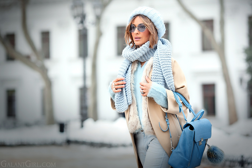 3.1 phillip lim blue pasli backpack, winter outfit, outfit for cold winter, cold days outfit, camel coat outfit,