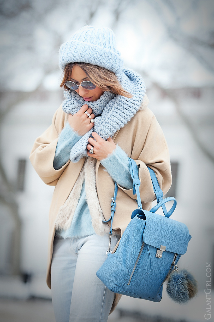 3.1 phillip lim blue pashli backpack, galant girl, camel coat outfit, outfit for cold days, cold winter outfit, how to stay warm and look stylish,