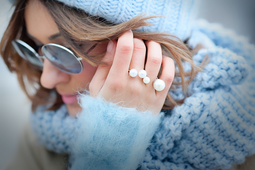double pearl rings, galant girl, pearl accessories, cutler and gross eyewear,