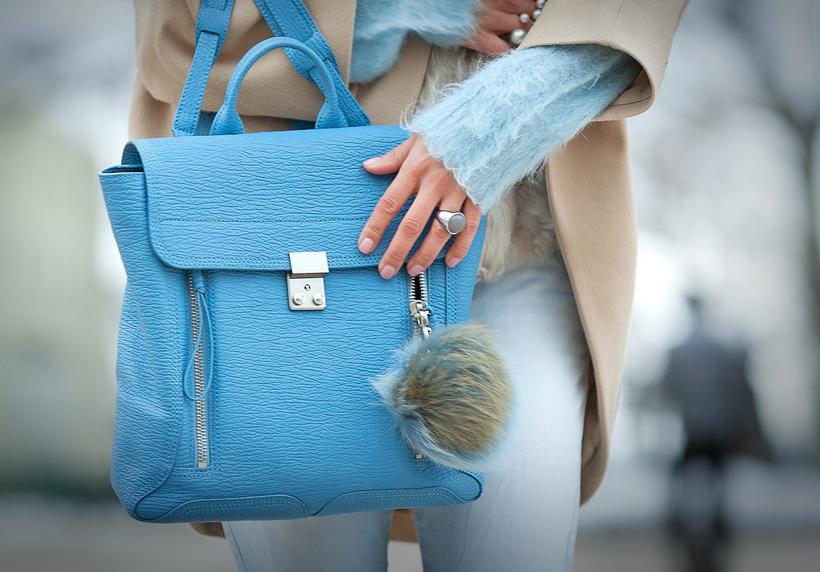 3.1 phillip lim blue pashli backpack, blue backpack outfit,