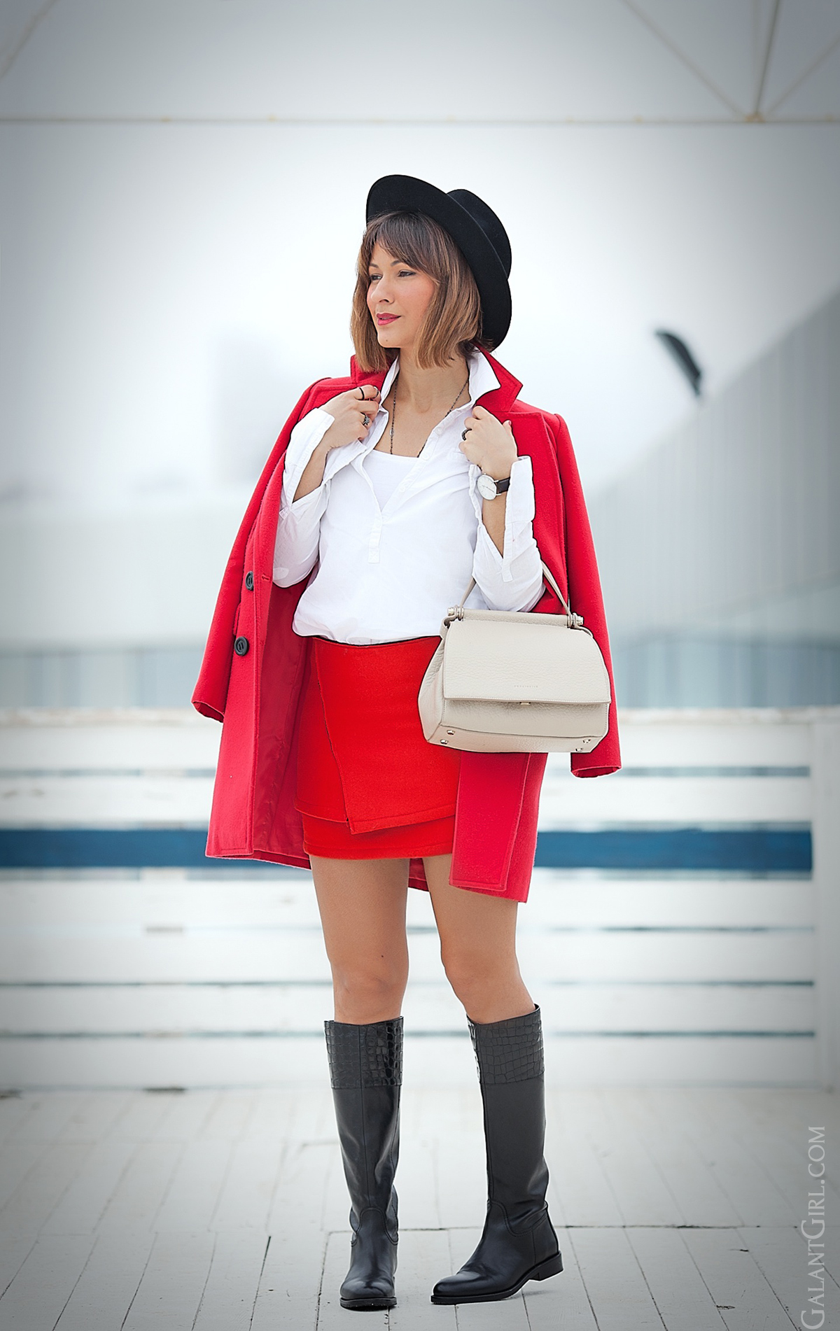 red mini skirt, galant girl, coccinelle bag, red outfit, spring 2015 outfit,