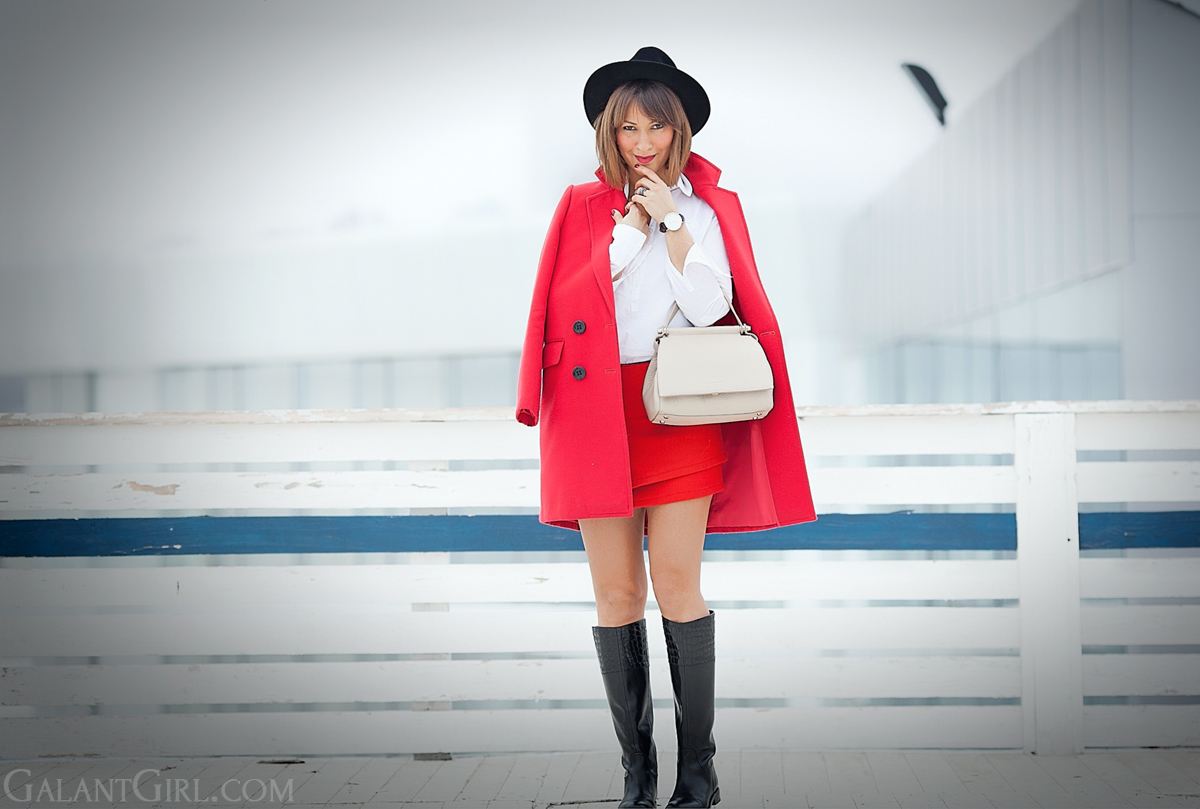 red mini skirt outfit, galant girl, coccinelle bag, red coat outfit,