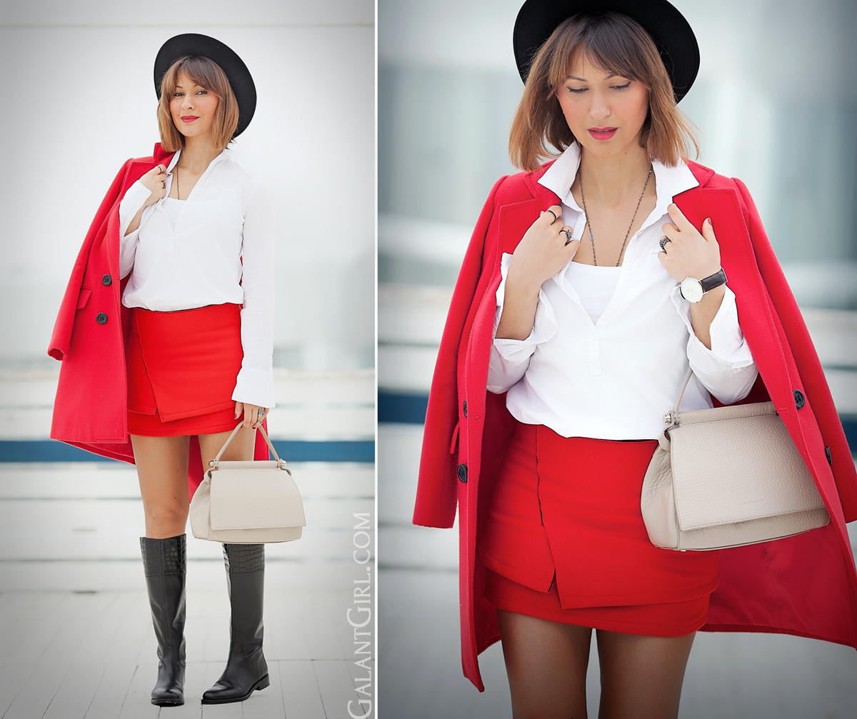 red mini skirt outfit, coccinelle bag, felt hat outfit, spring 2014 outfit, galant girl,