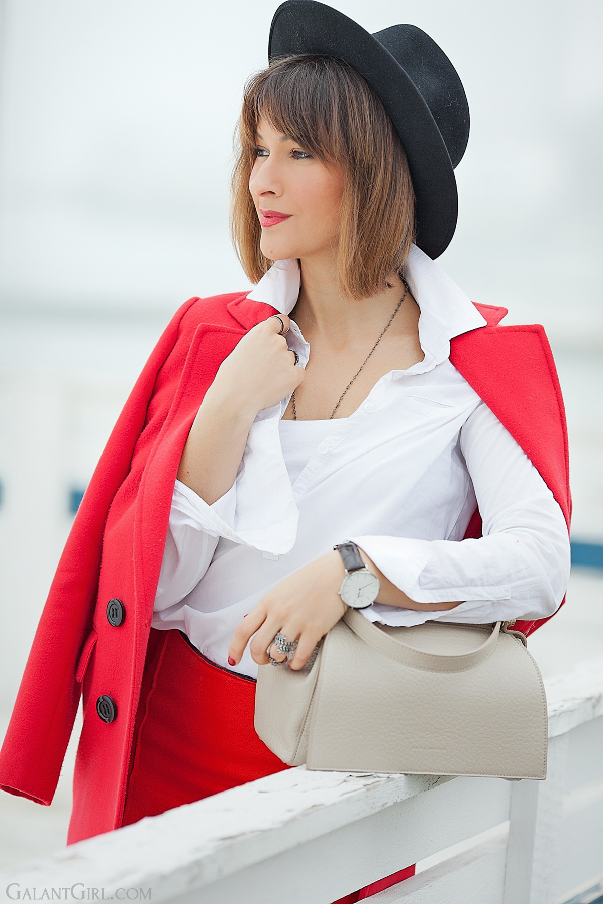coccinelle bag in beige, galant girl, red coat outfit,