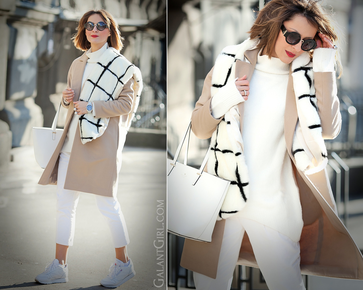 camel coat outfit, faux fur scarf, GalantGirl, kate spade new york tote bag,