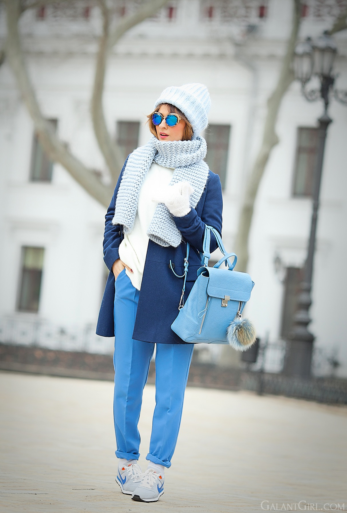 winter outfit, navy coat outfit, galant girl, cutler and gross eyewear, cutler and gross sunglasses,