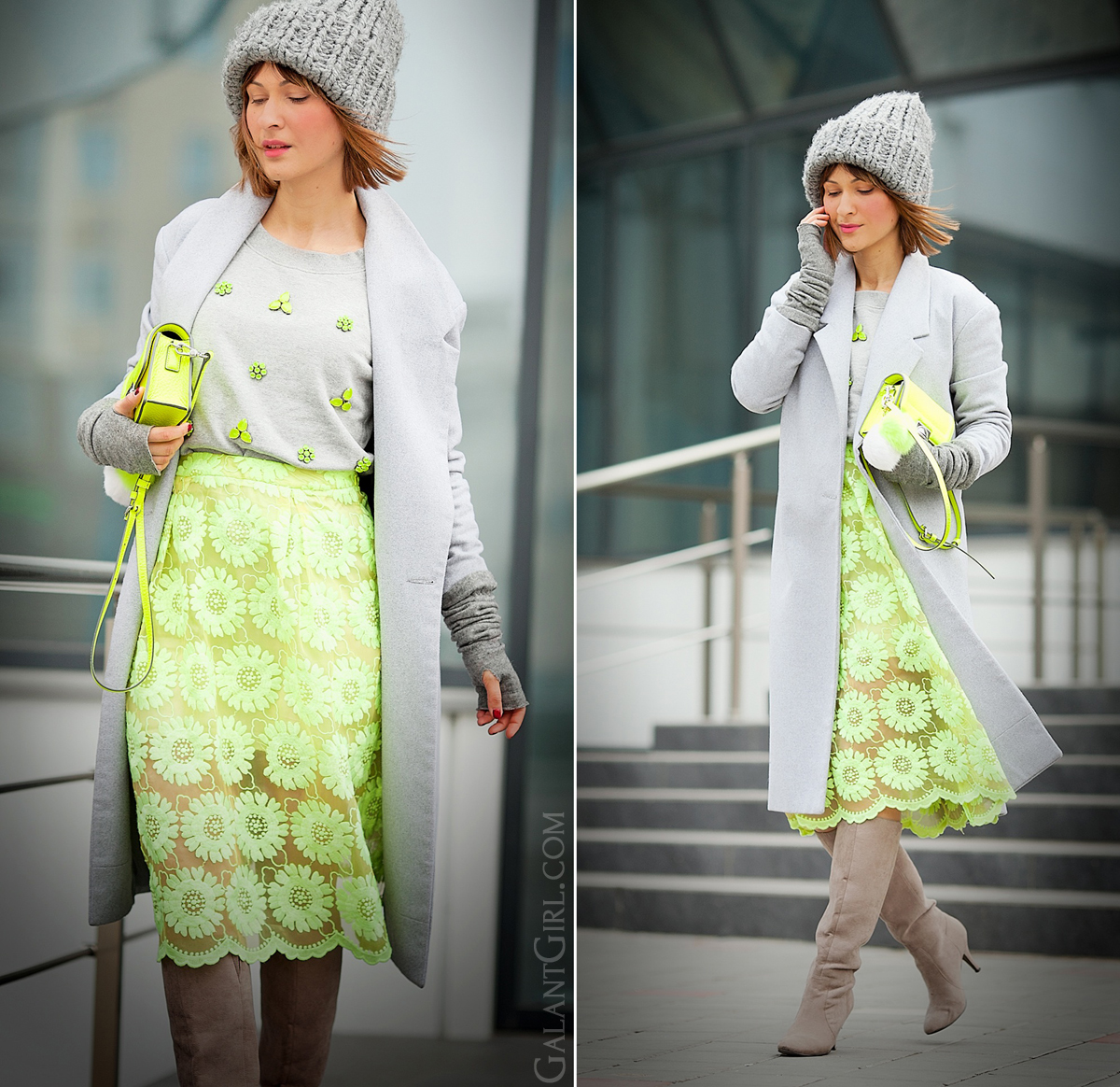 neon lace skirt, galant girl, grey outfit, winter outfit,