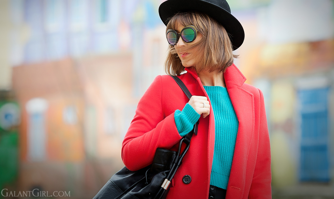 cutler and gross, cutler and gross sunglasses, galant girl, colorblock, red coat,