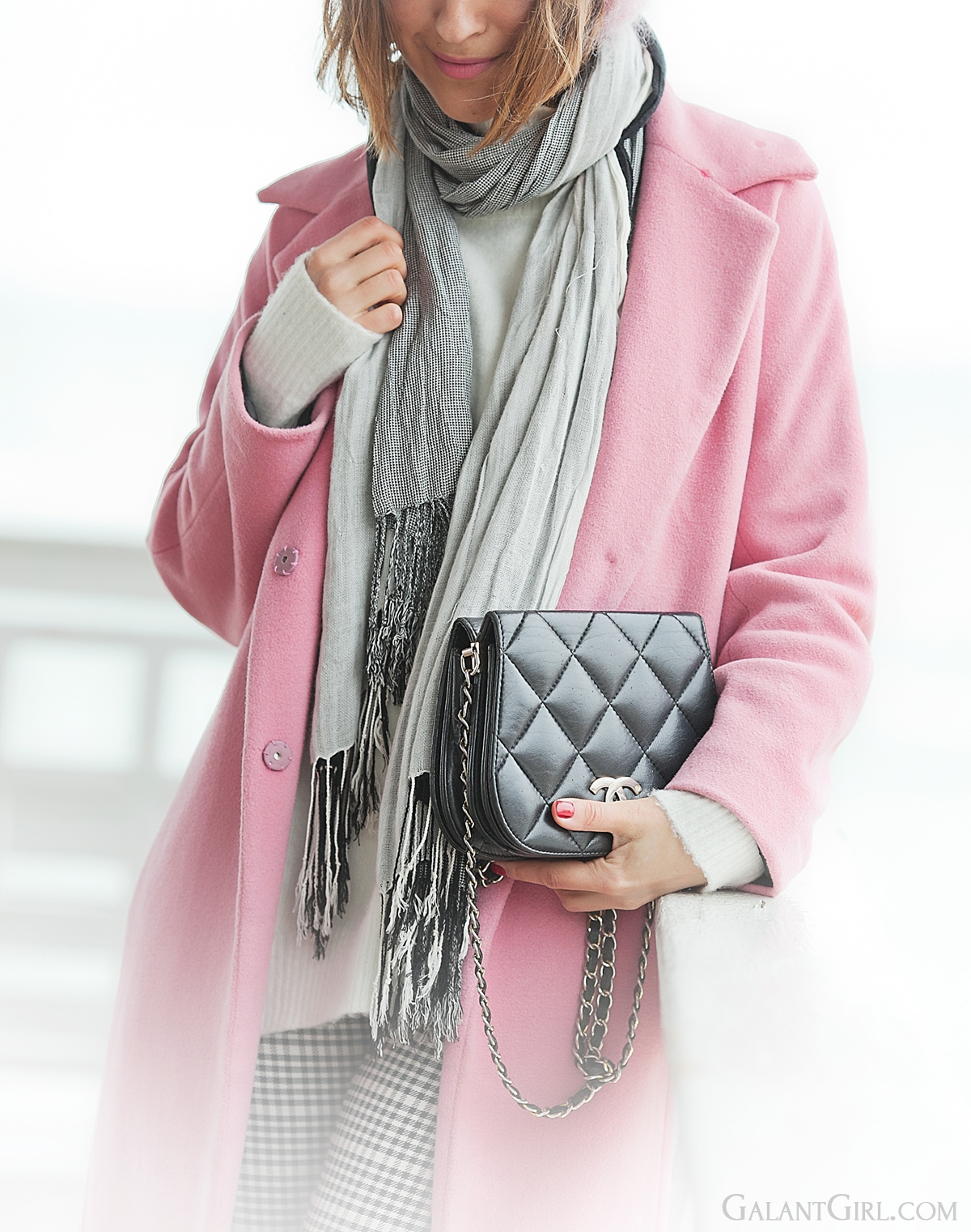 pink coat, chanel vintage bag, winter outfit, pastel winter outfit,