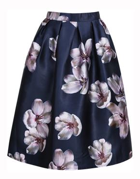 Purple Vintage Floral Pleated Skirt