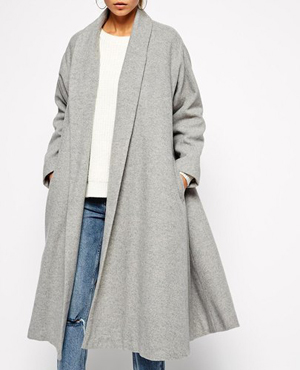 Grey Long Oversized Coat