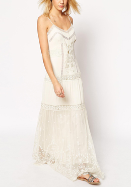ASOS PREMIUM maxi dress with lace inserts
