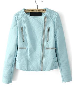 Light Green Long Sleeve Zipper jacket