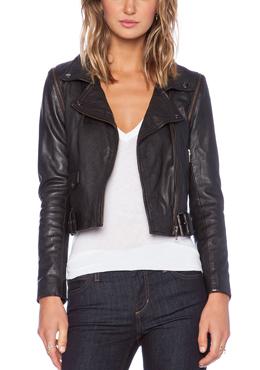 MUUBA leather biker jacket with unzipped sleeves