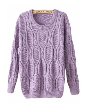 Purple Long Sleeve Cable knit sweater