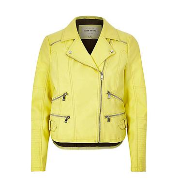 RIVER ISLAND Light Yellow Leather Look biker jacket