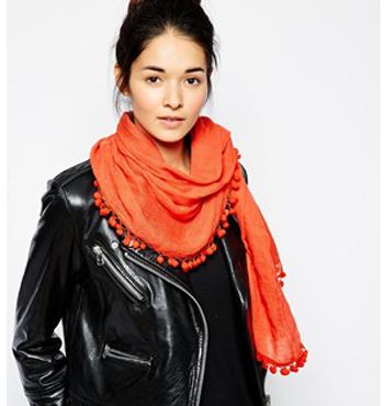 FRENCH CONNECTION Pom Pom scarf