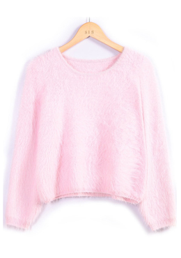 Shaggy crop sweater SHEINSIDE