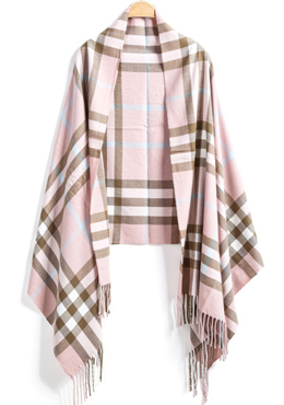 Pink tassel plaid scarf