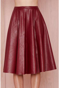 Wine Red PU Leather SKIRT