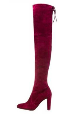 Wine Red Suede high Boots