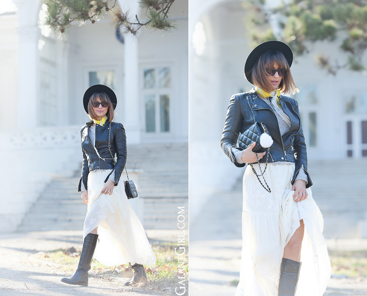 biker leather jacket outfit, galant girl,