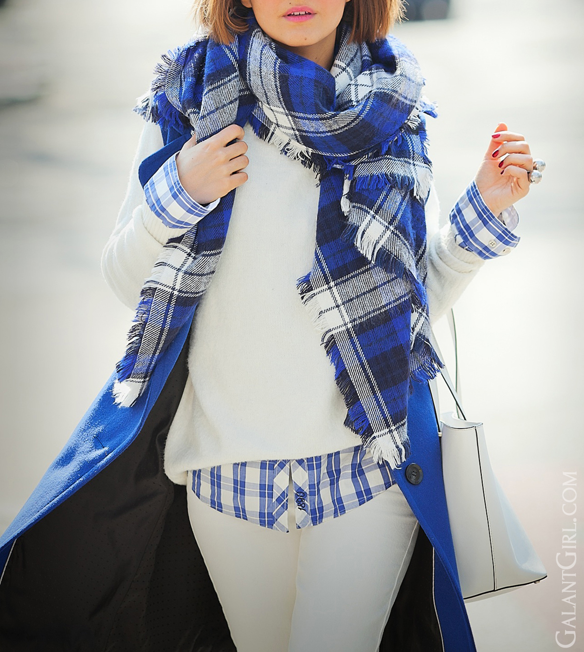 blue plaid scarf and shirt outfit on GalantGirl.com