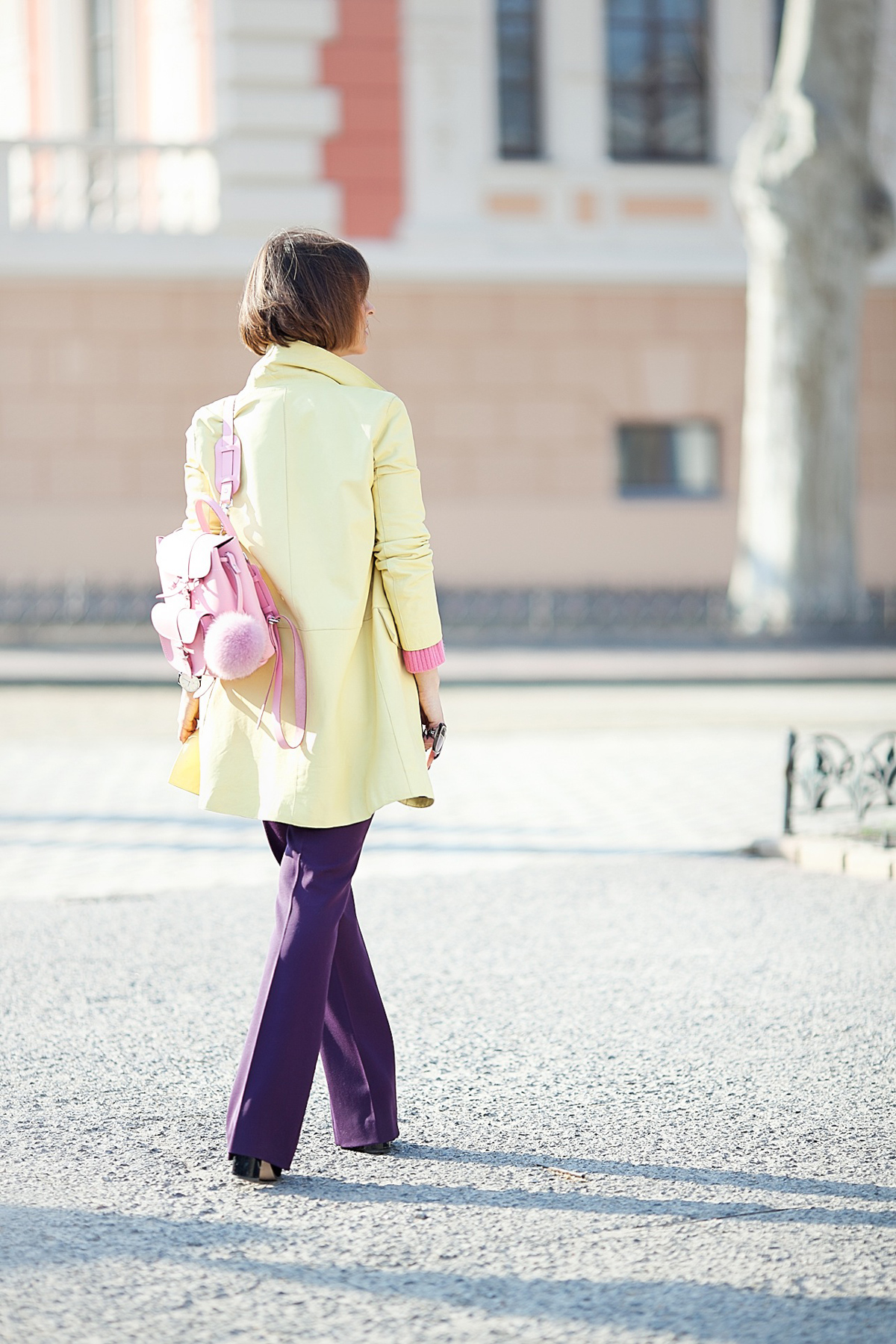 grafea pink mini backpack, galant girl, spring outfit, flare trousers outfit,