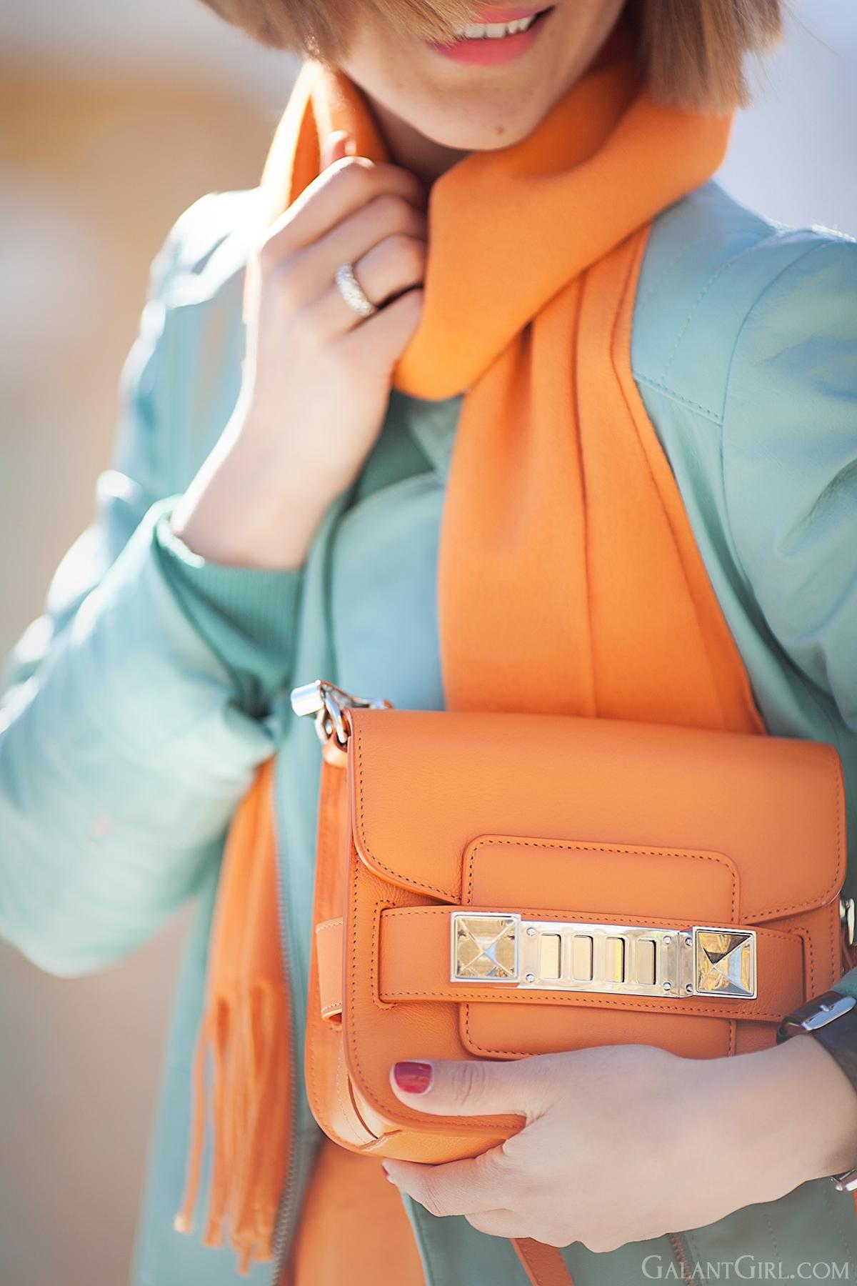 proenza schouler PS11 orange tiny bag on GalantGirl.com