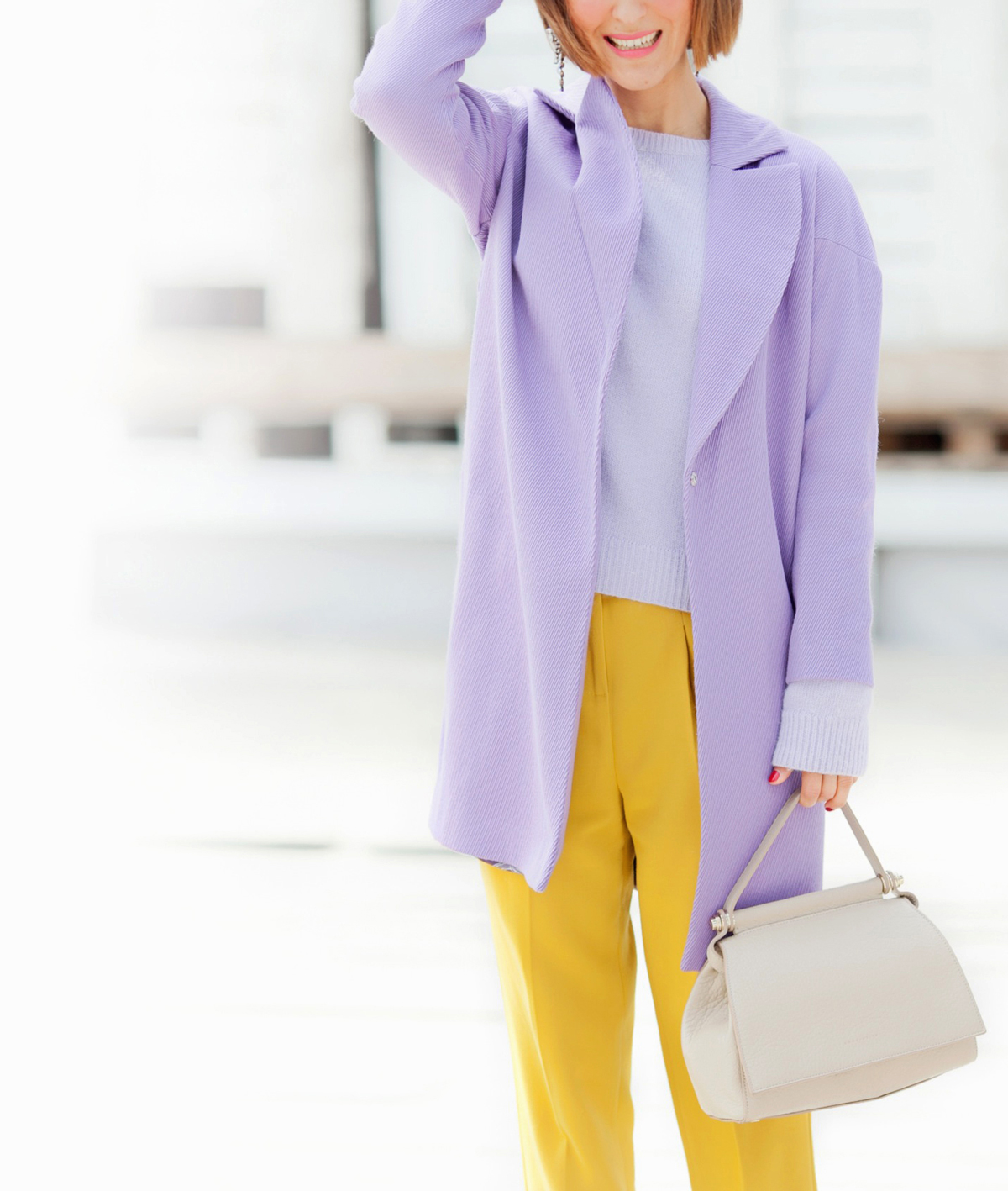 lilac coat outfit on GalantGirl.com