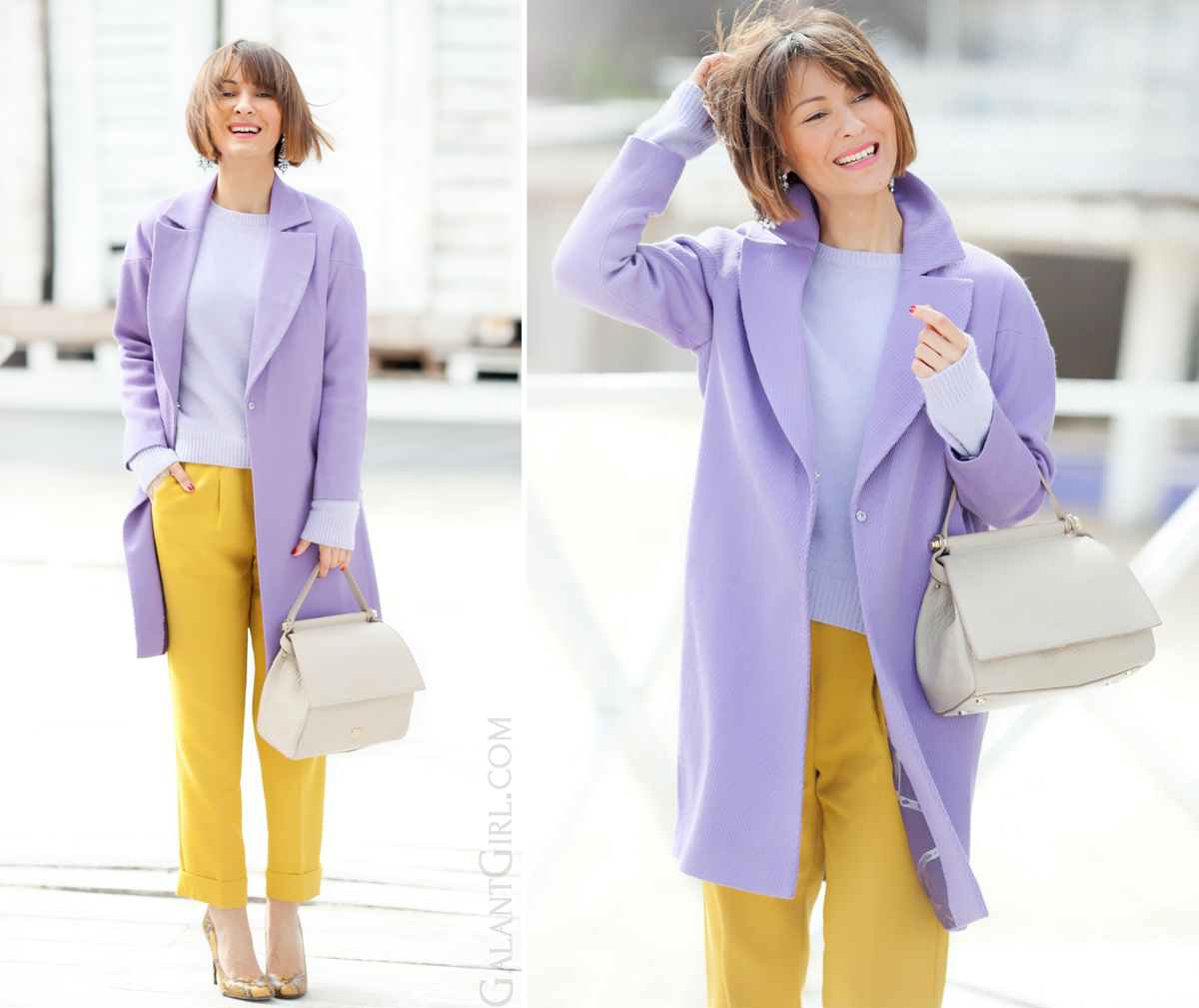galant girl, lilac coat outfit, mustard trousers outfit, coccinelle tote bag, acne angora sweater,