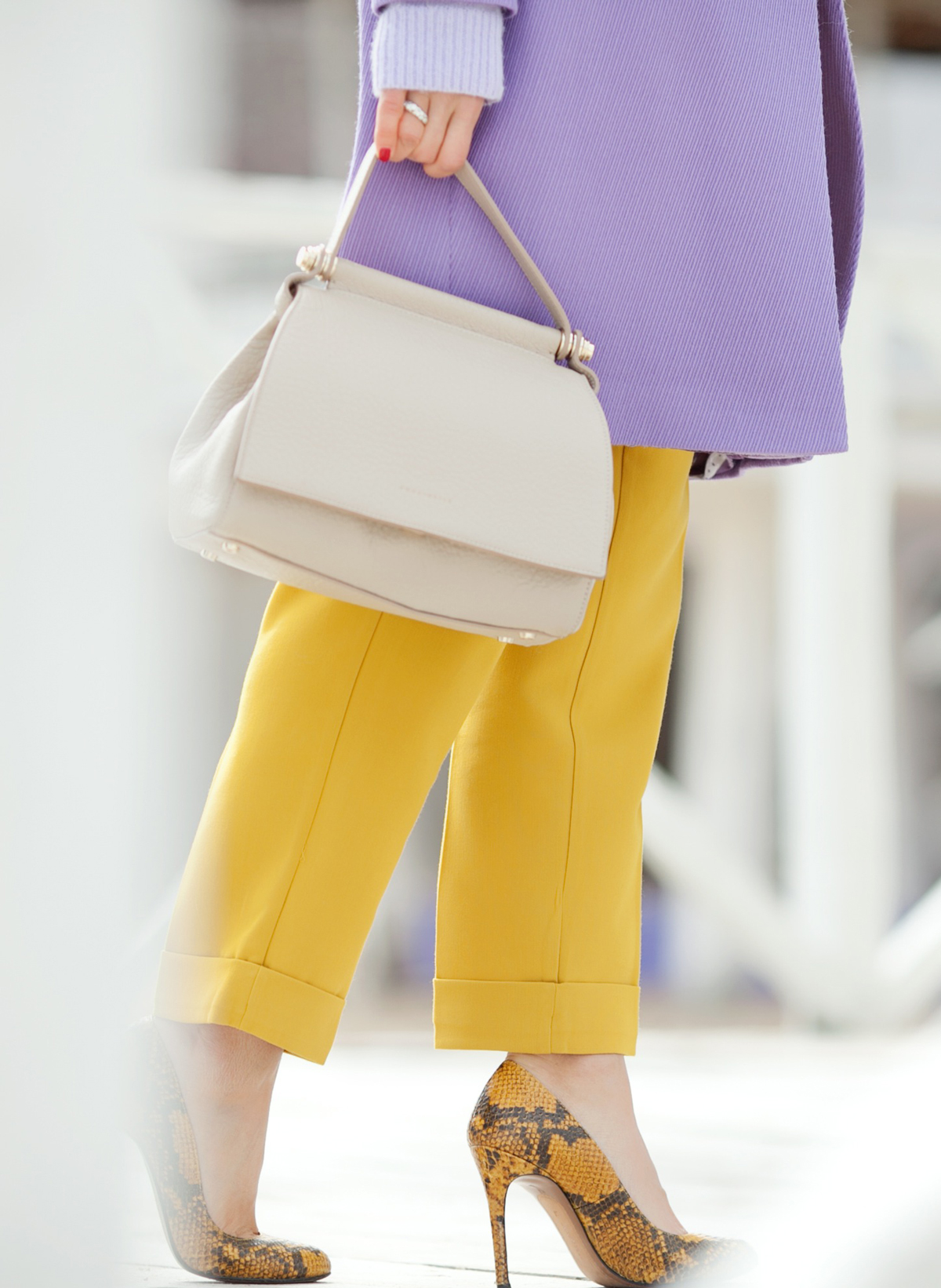 coccinelle tote bag , zara snake skin pumps, mustard trousers asos,