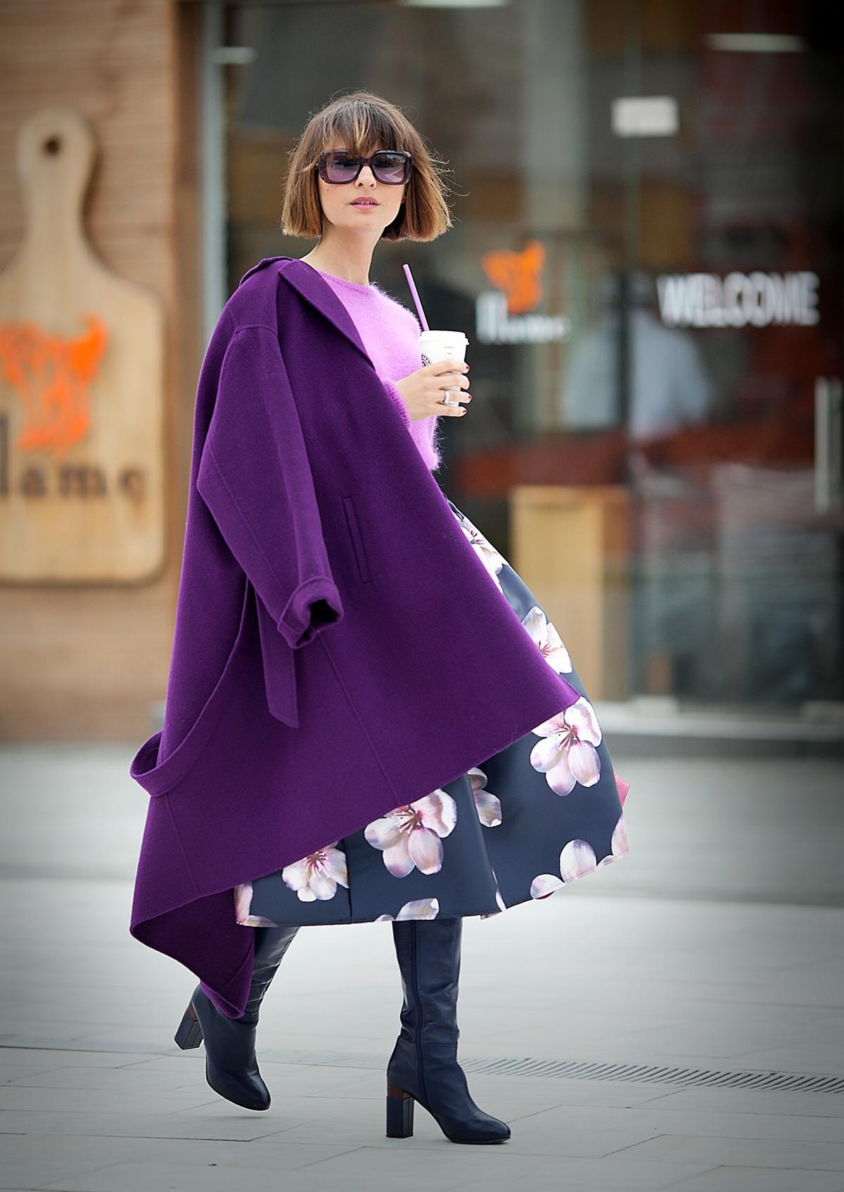 purple coat by MaxMara on Galantgirl.com