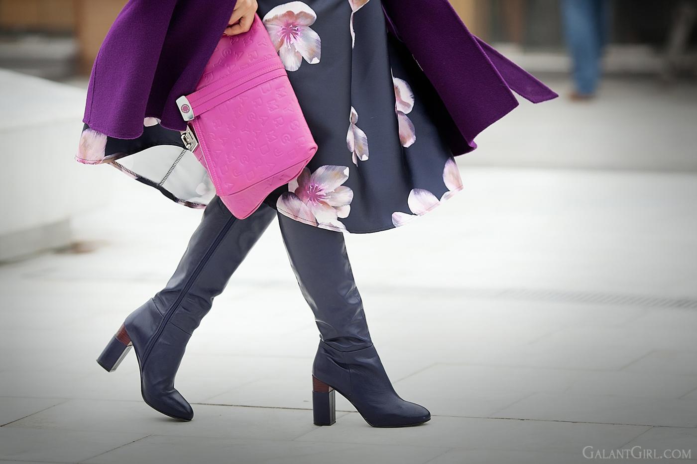 floral print midi skirt outfit on GalantGirl.com