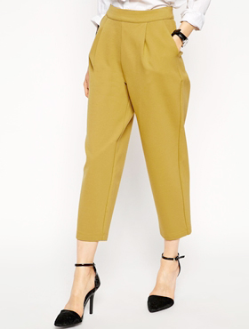 Mustard cropped trousers ASOS
