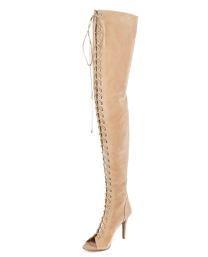 Camel Lace-up Over Knee Suede Boots With Peep-toe