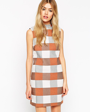 ASOS Shift Dress in Jacquard Check with Funnel Neck