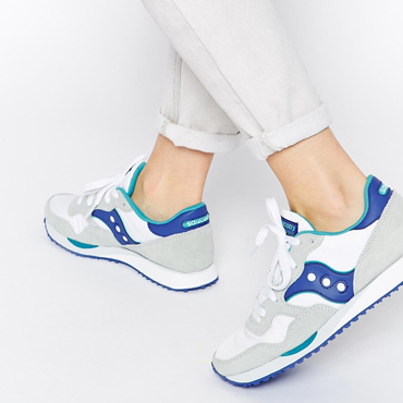 Saucony DXN White/Blue Trainers