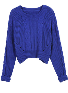 Blue Long Sleeve Crop Cable Knit Sweater