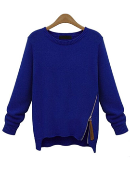 Blue Long Sleeve Zipper Knit Sweater