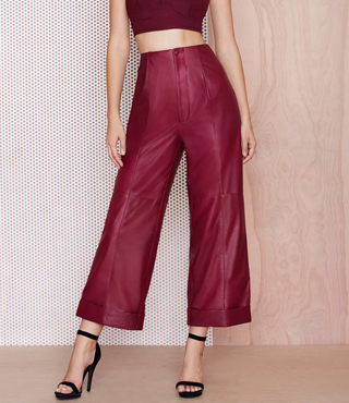 M.A.C x Nasty Gal Runner Leather Trousers