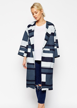 ASOS WHITE Denim Printed Panelled Coat