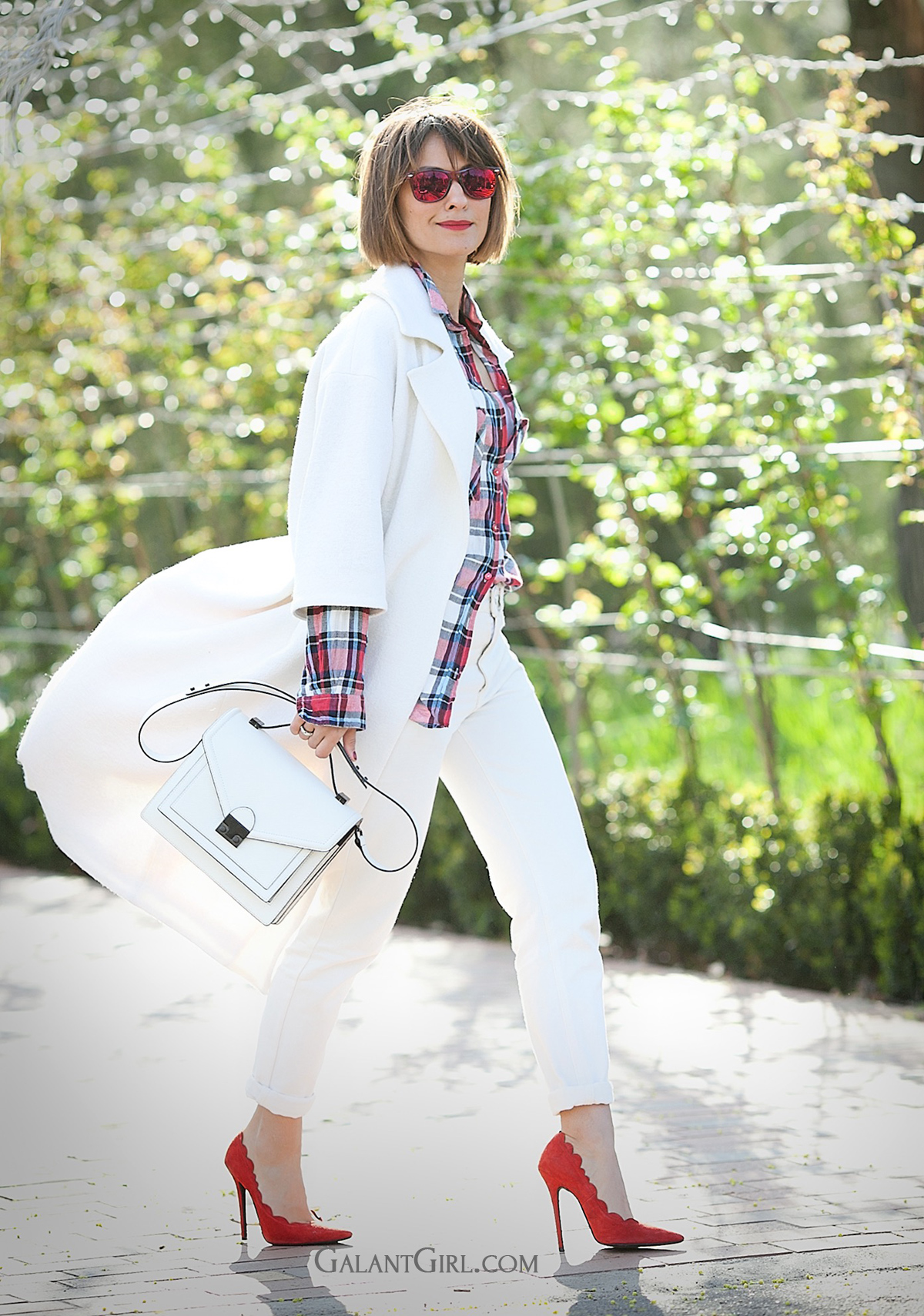 total white street style outfit with LOEFFLER RANDALL bag on galantGirl.com for editorial