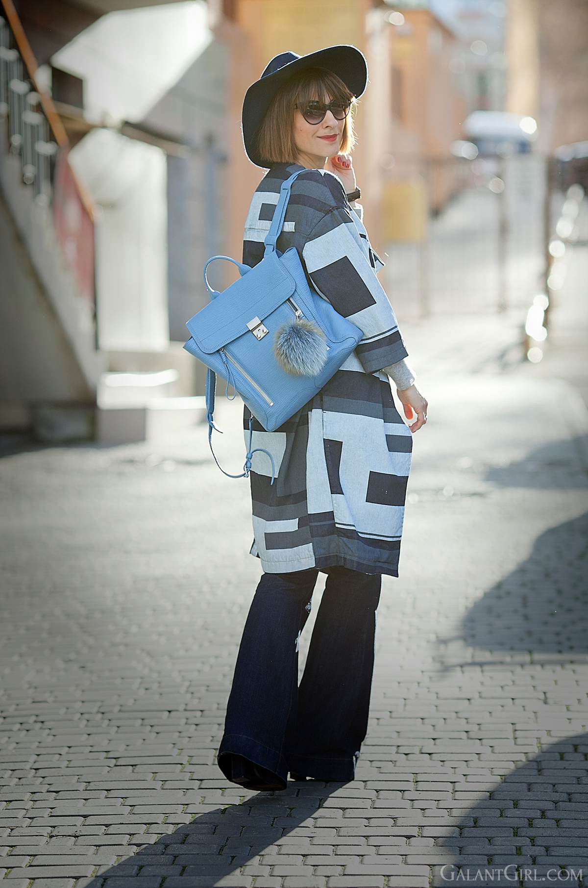 ASOS WHITE Denim Printed Panelled Coat and 3.1 Phillip Lim blue Pashli backpack on GalantGirl.com