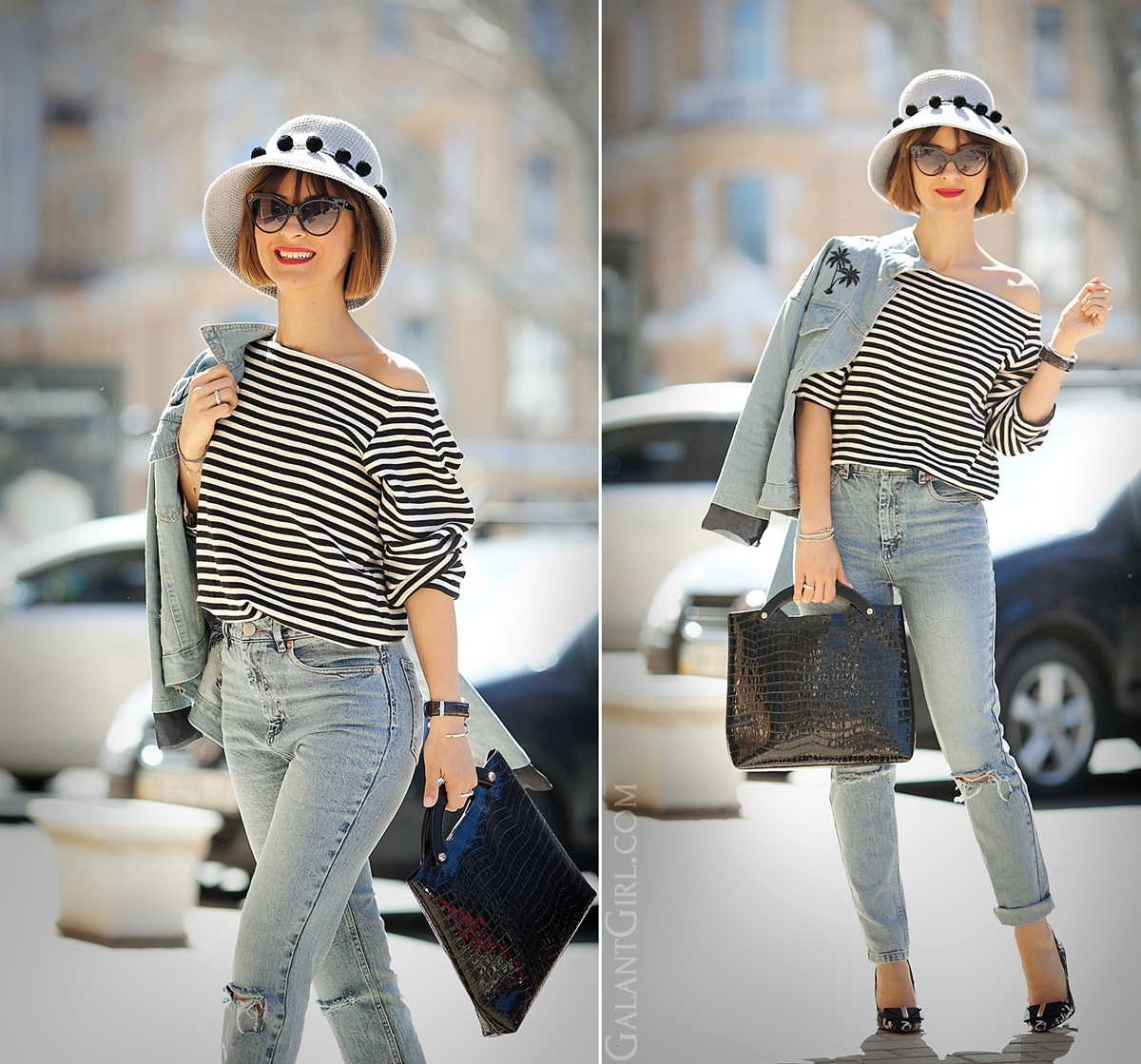 striped top and mom jeans outfit on GalantGirl.com